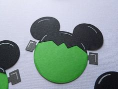 Mickey Mouse Heads, Frankenstein, Paper Cut Outs 10 Mickey Mouse Die Cuts Measures 2.5 inches wide Layered Paper Die Cut. Black