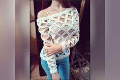 Вязание крючком: кофта-сетка мастер класс. Crochet grid sweater with sub...