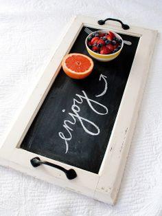 DIY Chalkboard Tray  - for a breakfast in bed gift basket.