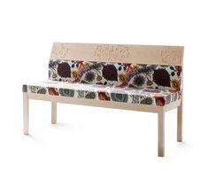 Fabric bench with back ARTE BLOOM By Nikari design Jenni Roininen, Klaus Haapaniemi Sofa Furniture, Furniture Design, Sofas, Bench With Back, Danish Design Store, Wood Sofa, Lounge Sofa, Modern Retro, Sofa Design