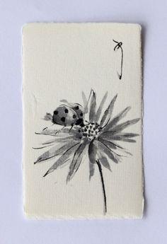 Ink art drawing Ladybug drawing insect drawing by ArtGalleryReina