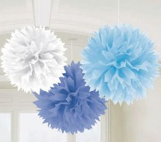 Tissue paper pom poms to hang from the sealing, almost like snow