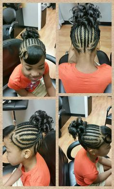 Cornrow Spiral Ponytail - Black Hair Information Community Lil Girl Hairstyles, Natural Hairstyles For Kids, Braided Hairstyles, Wedding Hairstyles, Natural Hair Styles, Hairdos, Swag Hairstyles, Hairstyles Pictures, School Hairstyles