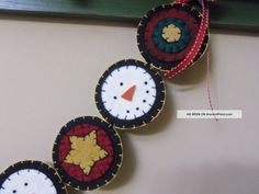 Handmade Penny Rug Garland Christmas Snowmen With Stars On Red And ...