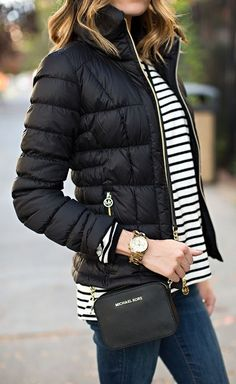 New Clothes Black Casual Michael Kors Ideas Casual Winter, Winter Stil, Fall Winter Outfits, Autumn Winter Fashion, Winter Wear, Summer Outfits, Black Puffer, Looks Black, Weekend Style