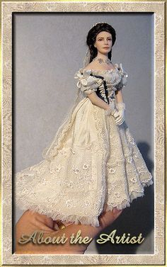 About the Artist Dollhouse Dresses, Dollhouse Dolls, Miniature Dolls, Dollhouse Miniatures, Maria Jose Santos, Fantasy Dolls, Dress Hats, Doll Houses, Little People
