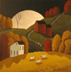 Original Painting Folk Art Sheep Country Primitive Landscape Farm Moon Saltbox | eBay