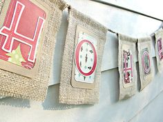 like the paper letters sewn on the burlap