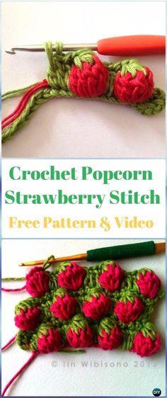 Crochet Popcorn Strawberry Stitch Free Pattern-Crochet Strawberry Stitch Free Patterns #artsandcraftsforchildren,