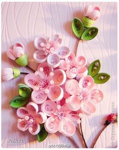 *QUILLING ~ The painting mural drawing sakura Paper Quilling strips 7 photos Neli Quilling, Paper Quilling Flowers, Origami And Quilling, Quilled Paper Art, Origami Paper Art, Paper Quilling Designs, Quilling Paper Craft, Quilling Patterns, Diy Paper