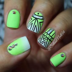 50 Beautiful and Unique Green Nail Art Designs Ideas Aztec Nail Art, Tribal Nail Designs, Green Nail Designs, Tribal Nails, Cute Nail Designs, Lime Green Nails, Green Nail Art, Neon Green, Green Art