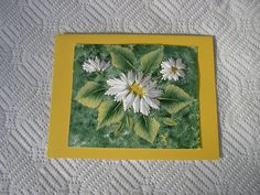 Stitched Daisies Card Embroidered and Hand by LisasPaintedCrafts