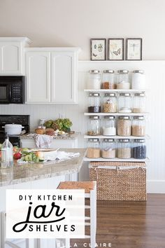 DIY Kitchen Jar Shelves Tutorial Add extra pantry storage and organization to a small kitchen on a budget with DIY jar shelves. - Own Kitchen Pantry Diy Kitchen Shelves, Kitchen Jars, Small Kitchen Storage, Diy Kitchen Decor, Farmhouse Kitchen Decor, Pantry Storage, White Farmhouse, Home Decor, Kitchen Furniture