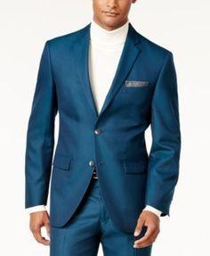 b5648bf3d3a1a Perry Ellis Men's Slim-Fit Teal Suit & Reviews - Suits & Tuxedos - Men -  Macy's