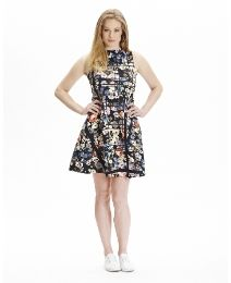 High Neck Sleeveless Scuba Floral Dress at Simply Be