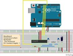 In this Instructables we shall learn to use Arduino Uno Board as an AVR ISP( In-System Programmer).This allows you to use the Arduino to burn Bootloader onto. Arduino Pcb, Arduino Board, Simple Arduino Projects, Wedding Website Examples, Tool Board, Make Your Own, Make It Yourself, Circuit Diagram, Tecnologia