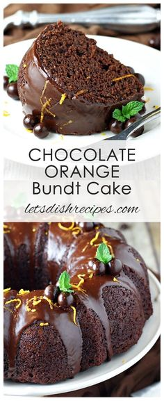 Chocolate Orange Bundt Cake Recipe: The flavors of orange and chocolate are the perfect compliment to each other in this rich, moist bundt cake. Finished off with a chocolate glaze, this cake is the perfect dessert for any special occasion. Chocolate Orange Bundt Cake Recipe, Orange Bunt Cake, Chocolate Bunt Cake, Chocolate Desserts, Chocolate Glaze, Chocolate Flavors, Moist Orange Cake Recipe, Orange Juice Cake, Chocolate Buttercream