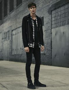 ALLSAINTS MEN'S LOOKBOOK OCTOBER 2015 LOOK 3. The Geo Suede Biker Jacket, Wasco Shirt, Tower Crew, Sioux Cigarette Jeans and Spectator Boot