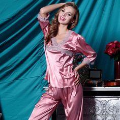Women's silk robes silk pajamas silk nightgowns silk nighties silk sleepwear silk nightwear silk chemise camisole (1951)