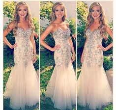 Prom dresses fancy beaded light pink
