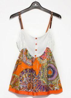 Orange Spaghetti Strap Wheel Print Buttons Dress pictures