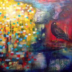 Nancy Létourneau (Pixels) Lost Creek, 2013 Technique mixte sur masonite x Lost, Pixel, Footprint, Drawing Ideas, Creations, Drawings, Heart, Painting, Inspiration