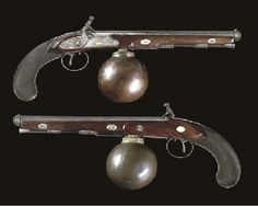 A VERY RARE PAIR OF AIR PISTOLS BY EGG, LONDON     									LATE 18TH CENTURY