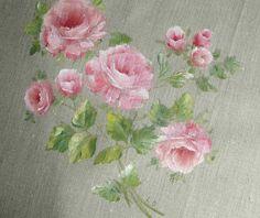 Peinture originale bouquet de roses sur lin naturel : Peintures par…