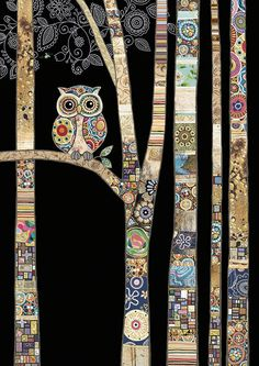 Bug Art - Owl Birch - designed by Jane Crowther Art Du Collage, Tableau Pop Art, Art Fantaisiste, Art Uk, Bug Art, Animal Quilts, Owl Quilts, Art Textile, Landscape Quilts