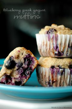 These Blueberry Greek Yogurt Muffins are absolutely delicious and are the perfect lunch time snack or dessert!