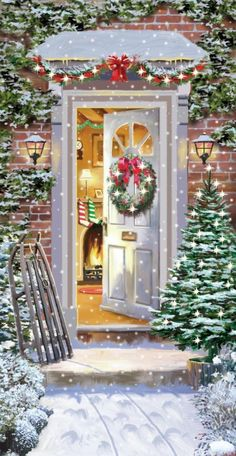 Beautiful Christmas Scenes, Christmas Scenery, Christmas Artwork, Cosy Christmas, Christmas Hearts, Magical Christmas, Christmas Paintings, Retro Christmas, Christmas Wallpaper