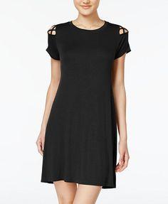 Planet Gold Juniors' Strappy-Shoulder T-Shirt Dress | macys.com