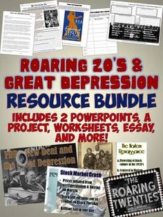 This fantastic unit bundle contains an amazing array of resources to teach the Roaring 20's and Great Depression! Includes CCSS aligned reading activities, beautiful PowerPoints, a great project and more!!