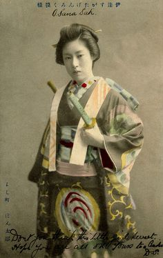 O-Sana-san, 1907 || Geisha from the Yoshi-cho district in Tokyo playing the role of a man (samurai) from the Genroku period for an odori (dance)