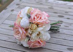 Blush Pink Rose Ivory Peony  Vanilla Rose #weddingbouquet #wedding #flowers by @hollysflowers93, www.hollysweddingflowers.com or www.etsy.com/shop/Hollysflowershoppe
