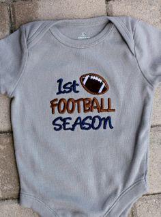 1st Football Season One piece body suit Boy or Girl Appliqued Football Blue Gray Teams Dallas Cowboys on Etsy, $22.00