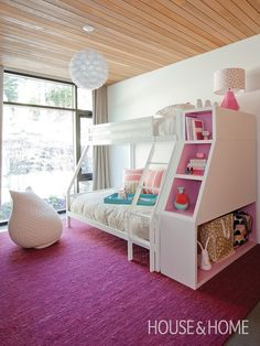 Girl's Bedroom With Bunk Beds / love the custom headboard/end unit