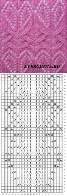 Узор 833| каталог вязаных спицами узоров