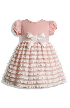 Your baby girl will be a princess in this adorable pink and white ruffle dress. ($36)