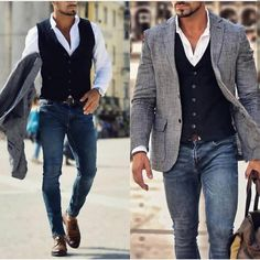 It's fun to dress up a pair of jeans. Dress shoes vest and a sports coat., Source by casual outfits Mens Fashion Suits, Mens Suits, Classy Mens Fashion, Fashion Casual, Fashion Fashion, Vest Outfits, Casual Outfits, Hipster Outfits, Fall Outfits