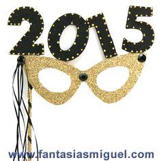 Antifaz Con Lentes Celebración 2015 Oro Negro - Como Hacer Manualidades - Fantasias Miguel