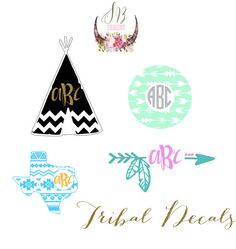 Aztec Monogram Decal | Tribal Personalized Decal | Tribal Aztec Sticker by SophieBreannaDesigns on Etsy