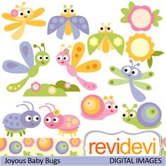 Cute baby bugs clipart in sof colors. These digital images are great for any craft and creative projects.