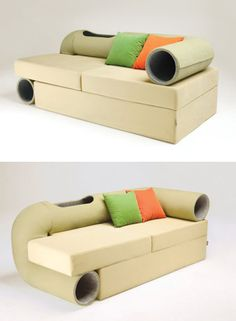 Your cat will love this couch's winding tunnel.