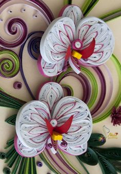 Beautiful quilled orchids - by: Neli