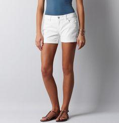 Roll-Up Shorts in White Denim