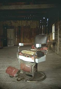 Barber's chair sits in an abandoned building in Bannack, Montana, known as The Ghost Town
