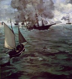 CSS Alabama and USS Kearsarge duel to the death in celebrated French Impressionist painter Edouard Manet's dramatic version of events. Manet claimed to have witnessed the battle firsthand, but he probably did not arrive until afterward. Renoir, Uss Kearsarge, Edouard Manet Paintings, Confederate States Of America, Philadelphia Museum Of Art, Philadelphia Pa, Expositions, Oil Painting Reproductions, A4 Poster
