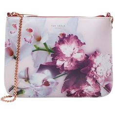 Ted Baker Cailey Ethereal Posie Across Body Bag ($115) ❤ liked on Polyvore featuring bags, handbags, shoulder bags, nude, purple leather purse, leather handbags, purple leather shoulder bag, leather crossbody purse and leather shoulder handbags