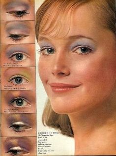 """1970s eye makeup from Seventeen magazine by christi"" Blue eyeshadow for that 70s make up!"